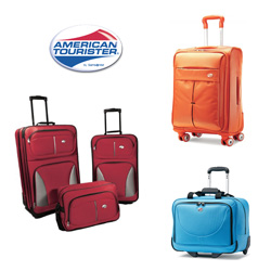 American Tourister different bags and brand logo