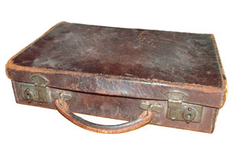 Old battered briefcase