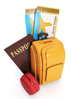 Luggage and essential travel documents