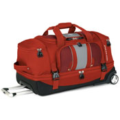 Red wheeled duffel bag