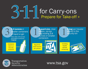 Hand luggage 3-1-1 carry-on rule