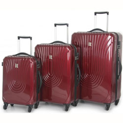 3 piece red spinner luggage set