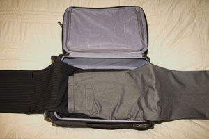 Pair of trousers on a suitcase